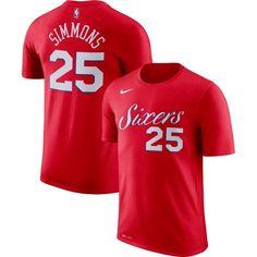 Nike Men's Philadelphia 76ers Ben Simmons #25 Dri-FIT Red T-Shirt, Size: Medium, Team