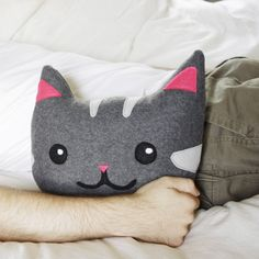 kitty cat decorative pillow - in gray and pink - great for a children's room - black friday cyber monday sale. 11 inches tall. $41.75. Source: regansbrain, Etsy.
