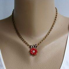 Red Celluloid Flower Slider Pendant Necklace Rhinestone Vintage Jewelry