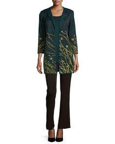 -61EU Misook  Melange Long Knit Tank, Women's Floral Embroidered Jacket, Women's