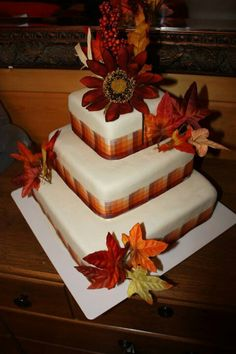 Fall Wedding Cake.  My first Wedding  Cake