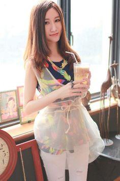 Sheer Peplum Shirt OASAP.com