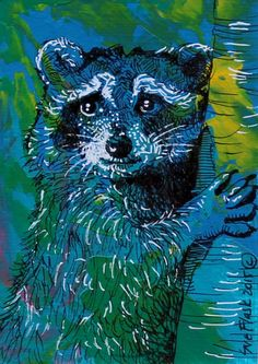 ACEO ORIGINAL Acrylic Pen Painting Wild Animal - Blue Raccoon by Sue Flask #Miniature
