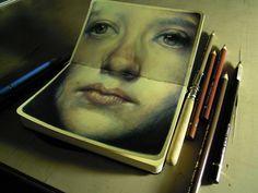 life-pursuit:    marcomazzoni:    a little portrait on moleskine    I feel so jealous right now…