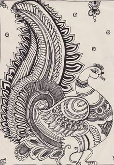 Kalamkari is ancient temple art of South India. it is famous for the motifs painted with pen and natural vegetable dyes. Kalamkari Painting, Madhubani Painting, Peacock Painting, Peacock Art, Doodle Art Drawing, Art Drawings, Phad Painting, Kerala Mural Painting, African Art Paintings