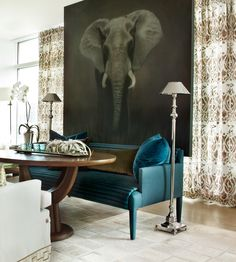 Love the idea of a Kitchen settee, especially in this teal color!!