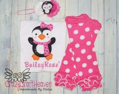 Baby Girl Christmas Outfit, My First Christmas Outfit, Baby Girl Penguin Outfit, Penguin shirt, christmas shirt, Pink and black Christmas