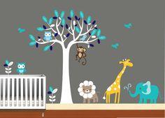 "Animal Vinyl Wall Art Tree Decal Nursery Birds by NurseryWallArt, $99.99 - 60""W x 8""T (long ship time)"