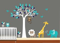 "Animal Vinyl Wall Art Tree Decal  Nursery Birds by NurseryWallArt, $99.99 - 60""W x 8""T (long ship time)"