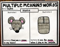 Multiple Meaning Words - Homonym printable and activities - Students use the anchor chart to write and illustrate a homonym. #HollieGriffithTeaching #KidsActivities #HandsOnLearning