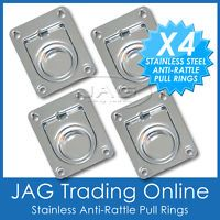 4 x STAINLESS STEEL ANTI-RATTLE FLUSH PULL RINGS - Boat Deck Cabin Hatch 44 x 38
