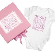 Personalised Twinkle Girls Pink Gift Set - Baby Vest :: Personalise this baby vest with any name - Fast UK Delivery. Pink Gift Box, Blue Gift, Pink Gifts, Baby Gift Sets, New Baby Gifts, Matching Gifts, Baby Vest, Childrens Gifts, Personalized Baby Gifts