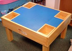 lego duplo table by becauseimme, via Flickr  No plans but storage in the corners a good idea?