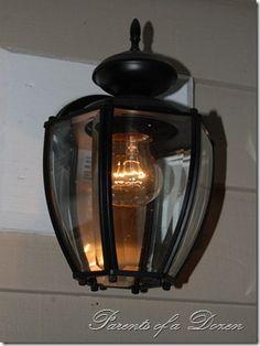 repurposed old brass outdoor lighting: spray paint Painting Light Fixtures, Outdoor Light Fixtures, Brass Outdoor Lighting, Home Lighting, Furniture Redo, Repurposed Furniture, Outdoor Spray Paint, Rental Kitchen, Black Spray Paint