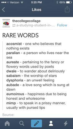 Rare words More