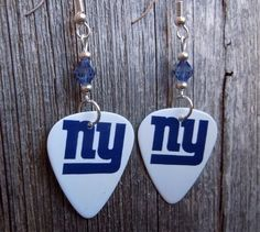 NY Giants Guitar Picks with Blue Crystals by ItsYourPick on Etsy