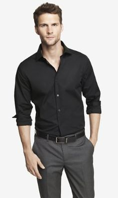 FITTED 1MX SPREAD COLLAR SHIRT from EXPRESS