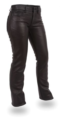 Womens Low Rise Black Leather Pants by First Mfg http://www.mymotorcycleclothing.com/