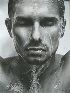 """Wet face, face drop, water drop, """"wayang"""" drawing portrait hyperealism, pencill and charcoal on paper 59x79, by ari berta galung, for sale"""