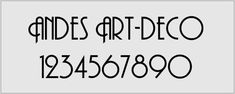 Andes art-deco allcaps style font. Ideal for simple art-deco style house signs and numbers.