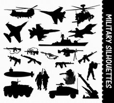 Military Clip Art Graphics Army Clipart Scrapbook Silhouette Airplane Ship Tank Gun Submarine Helicopter Digital Download JPG PNG Vector    This is for digital graphics…
