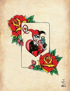 Harley Quinn Neo-Traditional, Old School Tattoo Flash Print via Etsy