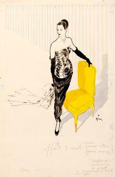 Fashion Illustration by Rene Gruau for 'Femina' Magazine. 1949.