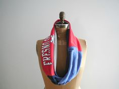 Fresno State T Shirt Scarf / Navy Blue / Red / Gray / by ohzie #fresnostate #california #football #sport #women #womensaccessories #womensfashion #infinityscarf #scarf #etsy #etsyfinds