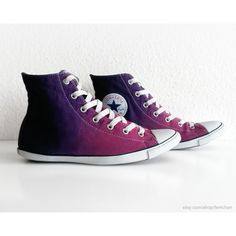 Orchid to deep purple ombre Converse Lite Hi, dip dye upcycled vintage sneakers, All Stars, size eu cm insole, US Wo's Neon Converse, Converse Shoes, Converse Trainers, Shoes Sneakers, Trendy Shoes, Cute Shoes, Me Too Shoes, Vintage Sneakers, Vintage Shoes
