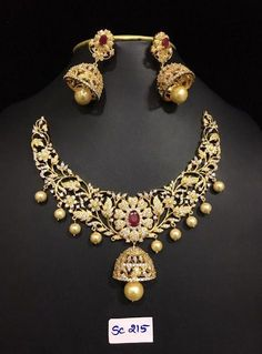 Grand AD Stones Necklace 3000 to 4500 Outfits, Outfit Ideas, Outfit Accessories, Cute Accessories India Jewelry, Gold Jewelry, Ruby Jewelry, Vintage Jewelry, Stone Necklace, Necklace Box, Earrings, Collar Necklace, Gold Necklace