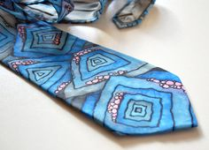 Hand painted necktie. Silk Necktie. Mens necktie. Abstract blue tie. Christmas gift for him. Men's fashion. Ready to ship