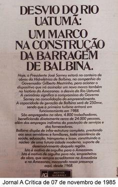 Jornal A Crítica - 07/11/1985