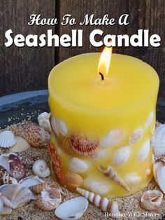 DIY Candle Making: Designer Seashell Candles – Running With Sisters Make your own DIY seashell candles. We'll show you how to wick the mold, melt the wax, and add seashells. Candle making is fun and easy! Aromatherapy Candles, Scented Candles, Pillar Candles, Sand Candles, Gel Candles, Paraffin Candles, Seashell Candles, Seashell Crafts, Sand Crafts
