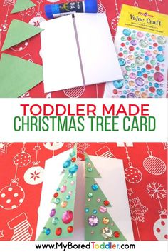 toddler made christmas tree card craft. A perfect Christmas craft for 1 and 2 year olds. This christmas card for toddlers is simple and fun. Christmas Crafts For Toddlers, Christmas Arts And Crafts, How To Make Christmas Tree, Christmas Tree Cards, Preschool Christmas, Toddler Christmas, Toddler Crafts, Christmas Projects, Christmas Themes