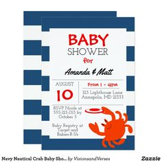Navy Nautical Crab Baby Shower Invitation This whimsical invitation is perfect for any Nautical, Beach or Underwater themed baby occasion. Each item is fully customizable to say just what you want. Great for Baby Showers, Adoption Showers, First Birthday or Gender Reveal Party.