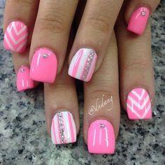 pink white nail design Nails ❤ liked on Polyvore featuring beauty products, nail care, nail treatments, nails, nail polish and beauty
