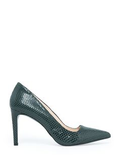 Snake-finish leather pumps