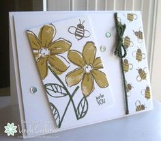 Stampin' Seasons - SU - Garden in Bloom stamp set and English Garden DSP Hanukkah Cards, Bee Cards, Stampin Up Catalog, Tampons, Paper Cards, Stamping Up, Flower Cards, Creative Cards, Homemade Cards