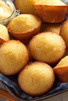 These moist, tender, just slightly sweet corn muffins are gluten-free. Gluten Free Corn Muffins Recipe, Gluten Free Cornbread, Gluten Free Baking, Gluten Free Yeast Rolls, Zucchini Muffins, Muffins Blueberry, Almond Muffins, Gluten Free Breakfasts, Gluten Free Desserts