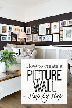 How to create a picture wall / gallery wall - a step by step guide Creating a picture wall - gallery wall. Step by step guide with lots of ideas of how to get the best result. Inspirational photos as well. Display art on wall easily with these tricks Displaying Family Pictures, Family Pictures On Wall, Family Picture Frames, Hanging Picture Frames, Hanging Pictures, Frames On Wall, Picture Walls, Family Photo, Images Murales