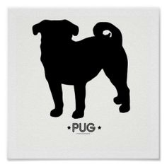 pug silohuette | ... pug silhouette design today makes a perfect gift for any pug owner