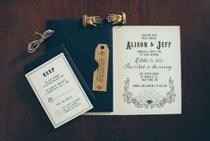 secret society-inspired wedding invitations by Quill & Fox