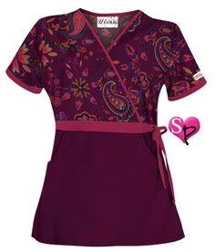 Shop print mock wrap scrub tops at discount prices. Spa Uniform, Scrubs Uniform, Scrubs Outfit, Uniform Advantage, Medical Scrubs, Nurse Scrubs, Casual Tops For Women, Scrub Tops, Work Attire