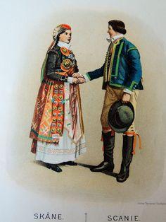Dräkt från Skåne zweden  foto av original plansch  av Cornelia