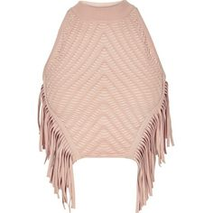 River Island Light pink knitted fringed halter neck top ($70) ❤ liked on Polyvore featuring tops, crop tops / bralets, pink, women, bralette crop top, bralette tops, halter top, pink sleeveless top and tall tops