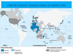 Carte de l'Empire colonial français dans les années 1930. Source: © HISTGEOGRAPHIE.COM