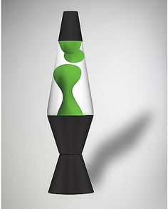 Lava Lamp with Black Wax, Green Liquid & Silver Base http ...