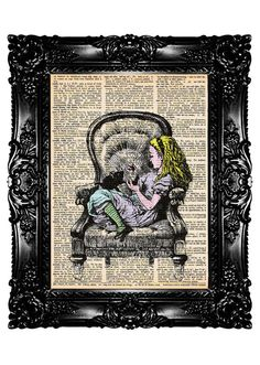 Alice in Wonderland 21 Upcycled Book Dictionary Art Print Altered Art Nursery art Vintage Book Print  Recycled Buy 3 get 4th free. $7.99, via Etsy.