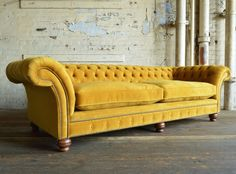 Modern Handmade Mustard Rutland Velvet Chesterfield Sofa