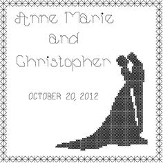 Bride and Groom Cross Stitch  Pattern/Couple Silhouette Cross Stitch Pattern/Wedding Cross Stitch/Modern Wedding Cross Stitch Pattern/PDF  by oneofakindbabydesign on Etsy